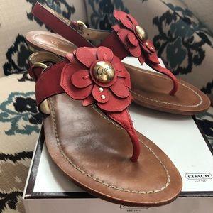 Coach Sari Vermillion Leather Sandals Size 8